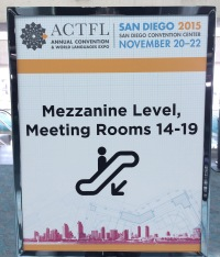 Welcome board at ACTFL 2016