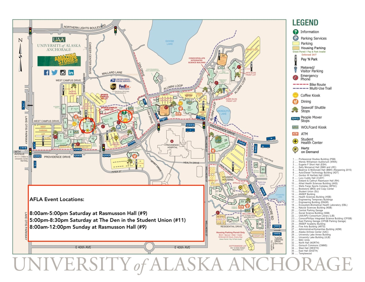 map for afla events at uaa alaskans for language acquisition